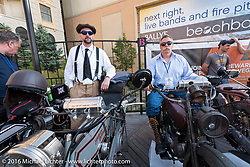 Wisconsinite's Jon Dobbs on his 1915 Harley-Davidson alongside Jeff Erdman on his 1916 Harley-Davidson  on the Atlantic City boardwalk at the start of the Motorcycle Cannonball Race of the Century. Stage-1 from Atlantic City, NJ to York, PA. USA. Saturday September 10, 2016. Photography ©2016 Michael Lichter.