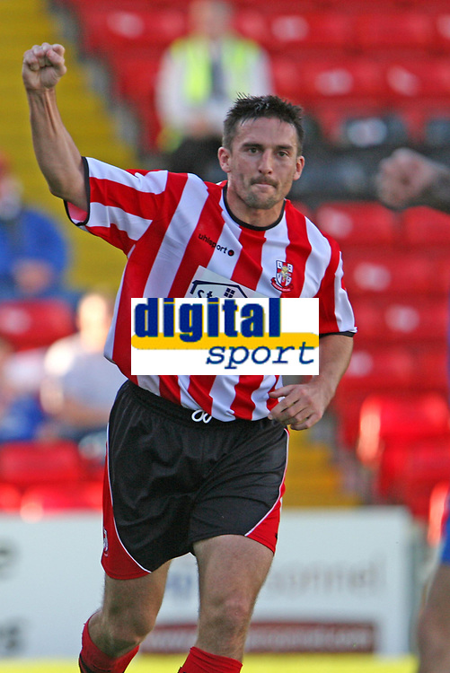 Photo: Pete Lorence.<br /> Lincoln City v Rochdale United. Coca Cola League 2. 21/10/2006.<br /> Mark Stallard celebrates his opening goal of the match.