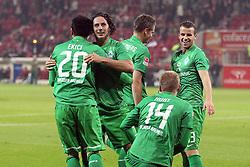 29.10.2011, Coface Arena, Mainz, GER, 1.FBL, Mainz 05 vs Werder Bremen, im Bild.Torjubel / Jubel  nach dem 1:2 durch Aaron Hunt (Bremen #14) (am Boden) mit Mehmet Ekici (Bremen #20), Claudio Pizarro (Bremen #24), Markus Rosenberg (Bremen #11) und Lukas Schmitz (Bremen #13) (R) ..// during the 1.FBL, Mainz 05 vs SV Werder Bremen on 2011/10/29, Coface Arena, Mainz, Germany. Foto © nph / Mueller