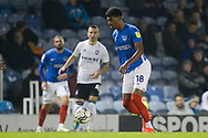 Reeco Hackett-Fairchild (18) of Portsmouth on the attack during the EFL Sky Bet League 1 match between Portsmouth and Ipswich Town at Fratton Park, Portsmouth, England on 19 October 2021.