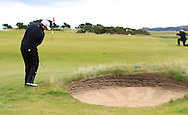 Shane Lowry chips onto the green on the 2nd with the GUI National panel players who are taking part in the Walker cup next week practicing with Neil Manchip and Tony Goode at Portmarnock on Wednesday 2nd September 2015.<br /> Picture:  Thos Caffrey / www.golffile.ie