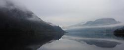 Mist hangs over Loch Lubnaig, near Callander, Stirlingshire on a cold February morning.<br /> <br /> (c) Andrew Wilson   Edinburgh Elite media