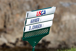 June 11, 2019 - Pebble Beach, CA, U.S. - PEBBLE BEACH, CA - JUNE 11:  A detailed close up sign for PGA golfers Martin Kaymer and Dustin Johnson during a practice round for the 2019 US Open on June 11, 2019, at Pebble Beach Golf Links in Pebble Beach, CA. (Photo by Brian Spurlock/Icon Sportswire) (Credit Image: © Brian Spurlock/Icon SMI via ZUMA Press)