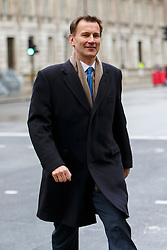 © Licensed to London News Pictures. 09/03/2016. London, UK. Health Secretary JEREMY HUNT arriving at Department of Health in London whilst junior doctors in England start a 48-hours strike in a dispute over pay, working hours and patient safety on Wednesday, 9 March 2016. Photo credit: Tolga Akmen/LNP