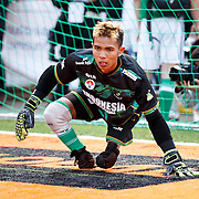 Homeless World Cup, George Square, Glasgow. Indonesia Keeper Eman Sulaeman. He has no feet. <br /> <br /> Picture Robert Perry for The Herald and  Evening Times 11th July 2016