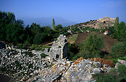 Lycian city of Tlos, Turkey viewed from the ruins of the amphitheatre