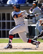 CHICAGO - APRIL 09:  Francisco Lindor #12 of the Cleveland Indians bats against the Chicago White Sox on April 9, 2016 at U.S. Cellular Field in Chicago, Illinois.  The White Sox defeated the Indians 7-3.  (Photo by Ron Vesely)  Subject: Francisco Lindor