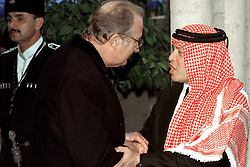 King Abdullah bin Al Hussein (right) receives condolences from King Albert of Belgium during funeral in Amman, Jordan on February 8, 1999. Twenty years ago, end of January and early February 1999, the Kingdom of Jordan witnessed a change of power as the late King Hussein came back from the United States of America to change his Crown Prince, only two weeks before he passed away. Photo by Balkis Press/ABACAPRESS.COM