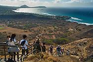 Tourists hiking to the top of Diamond Head Crater Park, Oahu, Hawaii