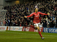 Photo: Glyn Thomas.<br />Nottingham Forest v Oldham Athletic. Coca Cola League 1.<br />14/01/2006.<br />Forest's Nathan Tyson celebrates after scoring his team's second goal.