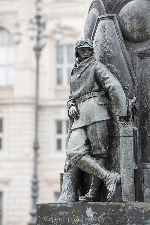 View of Monumento Leonardo Manzi in Triestes Piazza Unita dItalia, Trieste, Italy