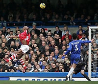 Photo: Lee Earle.<br /> Chelsea v Charlton Athletic. The Barclays Premiership. 22/01/2006. Charlton's Marcus Bent (L) heads home their equalising goal.
