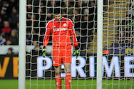Petr Cech, the Chelsea goalkeeper looks on. Barclays Premier League match, Swansea city v Chelsea at the Liberty Stadium in Swansea, South Wales on Saturday 17th Jan 2015.<br /> pic by Andrew Orchard, Andrew Orchard sports photography.