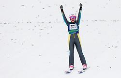 Winner Sarah Hendrickson of USA celebrates during Normal Hill Individual Competition at FIS World Cup Ski jumping Ladies Ljubno 2012, on February 12, 2012 in Ljubno ob Savinji, Slovenia. (Photo By Vid Ponikvar / Sportida.com)