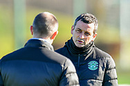 Hibernian FC manager, Jack Ross speaks with Hibernian FC assistant head coach, John Potter during the training session for Hibernian FC at the Hibs Training Centre, Ormiston, Scotland on 26 February 2021, ahead of the SPFL Premiership match against Motherwell.