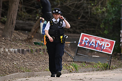 © Licensed to London News Pictures. 09/05/2021. London, UK. A price cordon is in place on the Grand Union Canal near Old Oak Common as the body of a newborn baby was found in the canal water this afternoon.A An investigation is taking place to establish the circumstances. Photo credit: Ray Tang/LNP