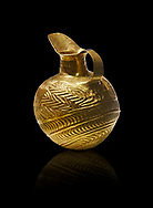 Bronze Age Hattian gold flask from Grave K, possibly a Bronze Age Royal grave (2500 BC to 2250 BC) - Alacahoyuk - Museum of Anatolian Civilisations, Ankara, Turkey. Against a black background .<br /> <br /> If you prefer to buy from our ALAMY PHOTO LIBRARY  Collection visit : https://www.alamy.com/portfolio/paul-williams-funkystock/royal-tombs-alaca-hoyuk-bronze-age.html (TIP refine search by adding background colour in the LOWER search box)<br /> <br /> Visit our ANCIENT WORLD PHOTO COLLECTIONS for more photos to download or buy as wall art prints https://funkystock.photoshelter.com/gallery-collection/Ancient-World-Art-Antiquities-Historic-Sites-Pictures-Images-of/C00006u26yqSkDOM
