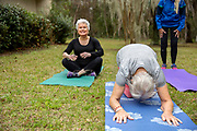 SENIOR WOMEN DOING YOGA OUTSIDE IN A PARK