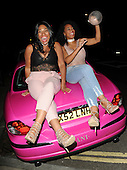 YouTube stars Imani and Sue Evans arrive at Fubar Radio in a Pink Jag