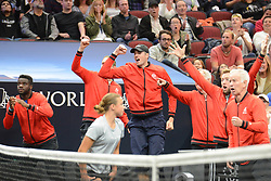 September 22, 2018 - Chicago, Illinois, United States - Team World reacts to a point during K. Anderson's match in the 2018 Laver Cup tennis event in Chicago. (Credit Image: © Christopher Levy/ZUMA Wire)