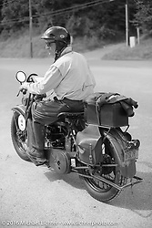 Steve DeCosa riding his 1927 Harley-Davidson JD during Stage 5 of the Motorcycle Cannonball Cross-Country Endurance Run, which on this day ran from Clarksville, TN to Cape Girardeau, MO., USA. Tuesday, September 9, 2014.  Photography ©2014 Michael Lichter.