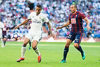 Real Madrid's player Danilo Luiz Da Silva and Eibar FC's player Pedro Leon Sanchez during a match of La Liga Santander at Santiago Bernabeu Stadium in Madrid. October 02, Spain. 2016. (ALTERPHOTOS/BorjaB.Hojas)