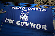 a Banner of Diego Costa of Chelsea on display inside Stamford Bridge before k/o. Premier league match, Chelsea v Leicester city at Stamford Bridge in London on Saturday 15th October 2016.<br /> pic by John Patrick Fletcher, Andrew Orchard sports photography.