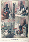 Murder of Baliff Gouffe by Gabrielle Bompard and Michel Eyrard, disposal of body, Bompard with detectives. Eyrard sentenced to death, Bompard to 20 years claiming Eyrard hypnotised her.  'Le Petit Journal', Paris, 20 December 1890.