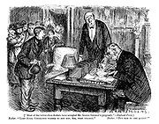 """[""""Most of the better-class doctors have accepted Mr Lloyd George's proposals."""" - Radical press.] Butler. """"Lady Julia Godolphin wishes to see you, sir, very urgent."""" Doctor. """"Put her in the queue!"""""""