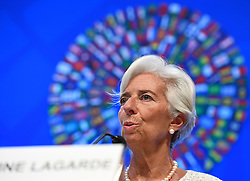 WASHINGTON D.C., Oct. 6, 2016 (Xinhua) -- International Monetary Fund (IMF) Managing Director Christine Lagarde speaks at a press conference on the coming 2016 Annual Meetings of IMF and World Bank Group in Washington D.C., the United States, Oct. 6, 2016. The IMF and World Bank Annual Meetings are scheduled on October 7-9. (Xinhua/Yin Bogu) (Credit Image: © Yin Bogu/Xinhua via ZUMA Wire)