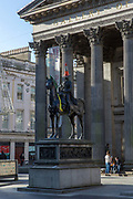 The Duke of Wellington Statue with a traffic cone on its head at the Royal Exchange Square on the 2nd November 2018 in Glasgow in the United Kingdom.