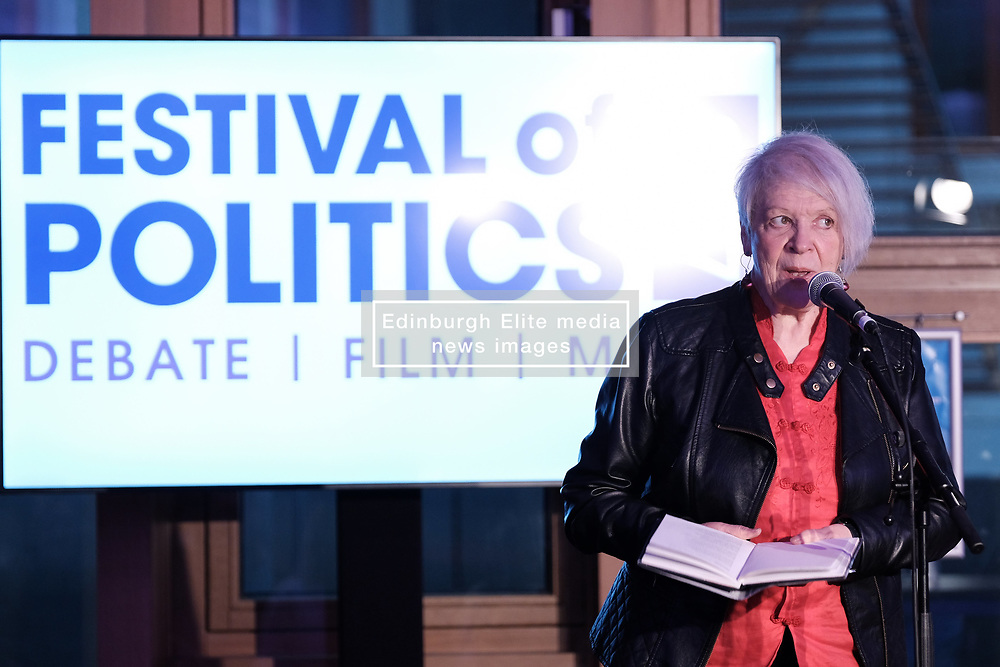 """Pictured:  Poet and writer Liz Lochhead performs her hit show """"SOMETHINGS OLD, SOMETHINGS NEW"""" at the Festival of Politics 2017 with musical backing from saxophonist Steve Kettley<br /> <br /> Alex Todd   EEm Saturday 19th October 2017"""