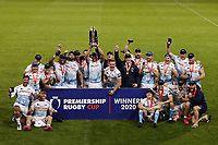 Rugby Union - 2019 / 2020 Premiership Rugby Cup - Final - Sale Sharks vs Harlequins<br /> <br /> Jono Ross of Sale Sharks lifts the Premiership Cup trophy with his teammates after victory in the Premiership Rugby Cup Final, at the A J Bell Stadium.<br /> <br /> COLORSPORT/PAUL GREENWOOD