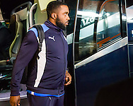 Sylvan Ebanks-Blake of Chesterfield getting off the coach before the Sky Bet League 1 match at The Den, London<br /> Picture by Richard Brooks/Focus Images Ltd 07947656233<br /> 21/02/2017