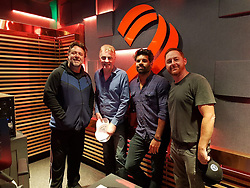 """Russell Crowe releases a photo on Twitter with the following caption: """"""""Podcasts this weekend featuring @russellcrowe @ScottGrimes @carlfalkmusic @AkaPaulHoward @IllSueYa ...@RTE2fm https://t.co/aQ5K5tSq0Z"""""""". Photo Credit: Twitter *** No USA Distribution *** For Editorial Use Only *** Not to be Published in Books or Photo Books ***  Please note: Fees charged by the agency are for the agency's services only, and do not, nor are they intended to, convey to the user any ownership of Copyright or License in the material. The agency does not claim any ownership including but not limited to Copyright or License in the attached material. By publishing this material you expressly agree to indemnify and to hold the agency and its directors, shareholders and employees harmless from any loss, claims, damages, demands, expenses (including legal fees), or any causes of action or allegation against the agency arising out of or connected in any way with publication of the material."""