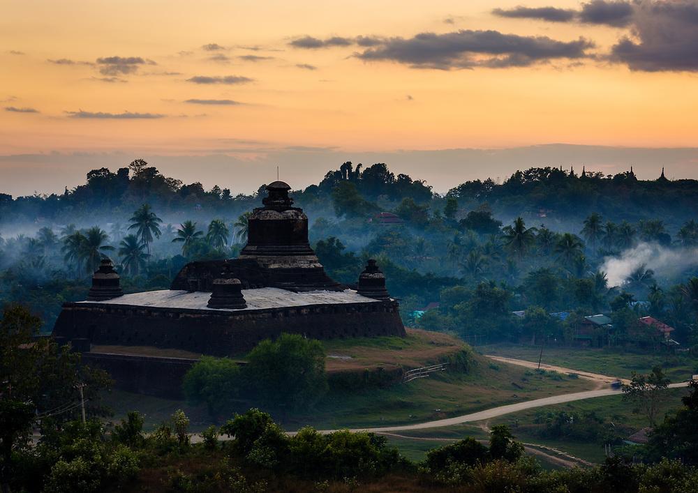 MRAUK U, MYANMAR - CIRCA DECEMBER 2017: Htukkanthein Temple Stupa at Sunset In Mrauk U, Rakhine State.