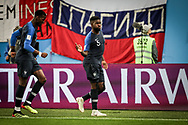 Samuel Umtiti of France celebrates after his goal with Paul Pogba during the 2018 FIFA World Cup Russia, Semi Final football match between France and Belgium on July 10, 2018 at Saint Petersburg Stadium in Saint Petersburg, Russia - Photo Thiago Bernardes / FramePhoto / ProSportsImages / DPPI