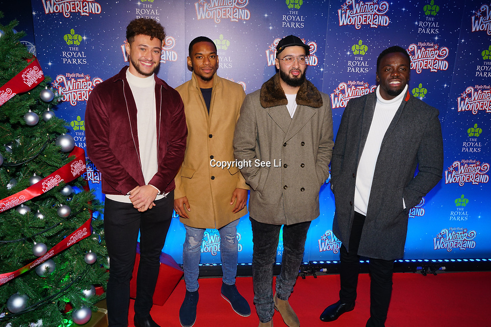 London, England, UK. 16th November 2017. x Factor - Rak-Su attend the VIP launch of Hyde Park Winter Wonderland 2017 for a preview. tomorrow is opening for the public