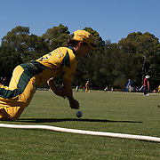 Sarah Andrews saves a boundary as she flicks the ball back to team mate Alex Blackwell during the match between Australia and Pakistan in the Super 6 stage of the ICC Women's World Cup Cricket tournament at Bankstown Oval, Sydney, Australia on March 16 2009, Australia won the match by 107 runs. Photo Tim Clayton