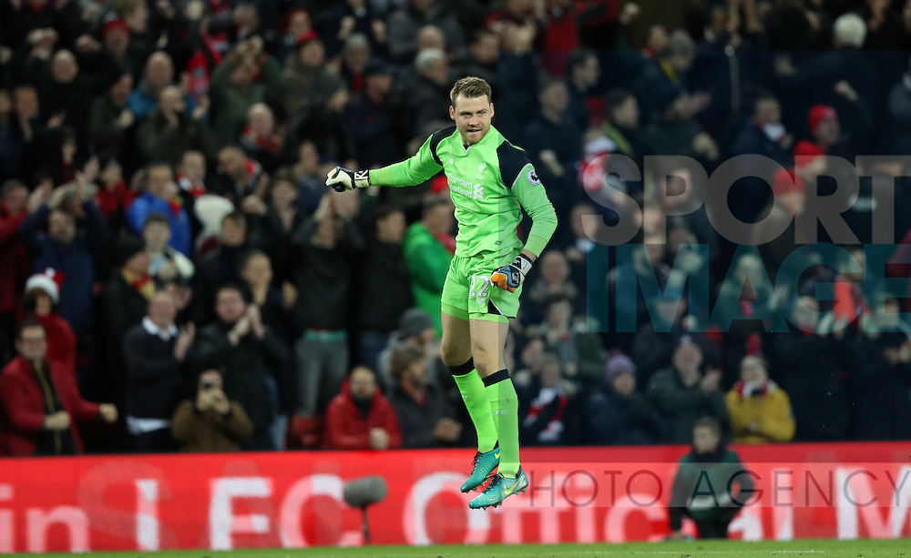 Simon Mignolet of Liverpool celebrates after   the English Premier League match at Anfield Stadium, Liverpool. Picture date: December 31st, 2016. Photo credit should read: Lynne Cameron/Sportimage