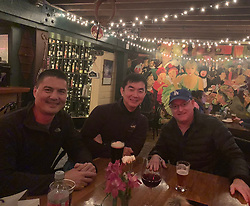 """Scott Kelly releases a photo on Twitter with the following caption: """"""""Great catching up with my former @Space_Station crew mates @astro_kjell & @Astro_Kimiya in Houston, TX, planet Earth last night!"""""""". Photo Credit: Twitter *** No USA Distribution *** For Editorial Use Only *** Not to be Published in Books or Photo Books ***  Please note: Fees charged by the agency are for the agency's services only, and do not, nor are they intended to, convey to the user any ownership of Copyright or License in the material. The agency does not claim any ownership including but not limited to Copyright or License in the attached material. By publishing this material you expressly agree to indemnify and to hold the agency and its directors, shareholders and employees harmless from any loss, claims, damages, demands, expenses (including legal fees), or any causes of action or allegation against the agency arising out of or connected in any way with publication of the material."""