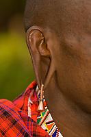 A Maasai warrior's stretched earlobe and earring, Amboseli National Park, Kenya