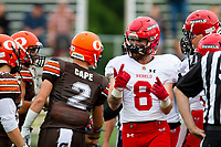 KELOWNA, BC - AUGUST 17: Garret CAPE #2 of Okanagan Sun gets in the face of Byron Mackinnon #8 of Westshore Rebels during the first quarter at the Apple Bowl on August 17, 2019 in Kelowna, Canada. (Photo by Marissa Baecker/Shoot the Breeze)