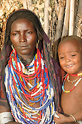 Africa, Ethiopia, Omo valley, Mother and child of the Arbore tribe