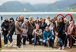Tourists taking group photo at lake, on April 23, 2017, at Lake Bled, Bled, Slovenia.  Photo by Vid Ponikvar / Sportida