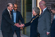 The Duke arrives and is greeted by members of Kensington Council and museum staff - The Duke of Edinburgh opens the new Design Museum in Kensington. The Design Museum has moved to Kensington High Street from its former home as an established London landmark on the banks of the river Thames.  The new museum will be devoted to contemporary design and architecture, an international showcase for the many design skills at which Britain excels and a creative centre, promoting innovation and nurturing the next generation of design talent. His Royal Highness toured the museum to view the transformation of a modernist building from the 1960s, which was the former Commonwealth Institute.  14 November 2016, London.