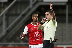 (L-R), Steven Pereira of MVV Maastricht, Referee Dennis Higler during the Jupiler League match between MVV Maastricht and SC Cambuur at the Geusselt on September 22, 2017 in Maastricht, The Netherlands.