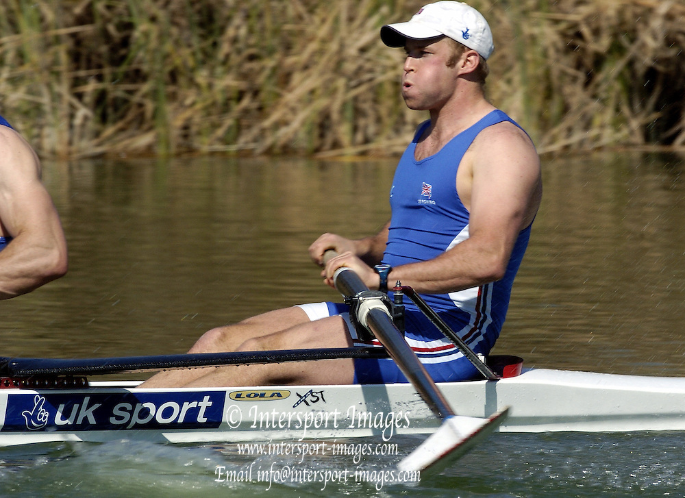 2005 FISA Team Cup, Rio Guadalquiver Rowing Course, Seville, SPAIN; GBR M2- Men's pair, Alex Partridge. start of the final.Photo  Peter Spurrier. .email images@intersport-images..