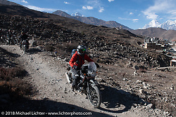 Sean Lichter riding back to Muktinath from the Buddhist temple above the town on day-6 of our Himalayan Heroes adventure riding from Muktinath to Tatopani, Nepal. Sunday, November 11, 2018. Photography ©2018 Michael Lichter.