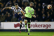 Lee Gregory of Millwall tries a shot at goal. The Emirates FA Cup 3rd round match, Millwall v AFC Bournemouth at The Den in London on Saturday 7th January 2017.<br /> pic by John Patrick Fletcher, Andrew Orchard sports photography.
